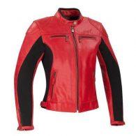 Chaqueta de moto de piel rojo para mujer